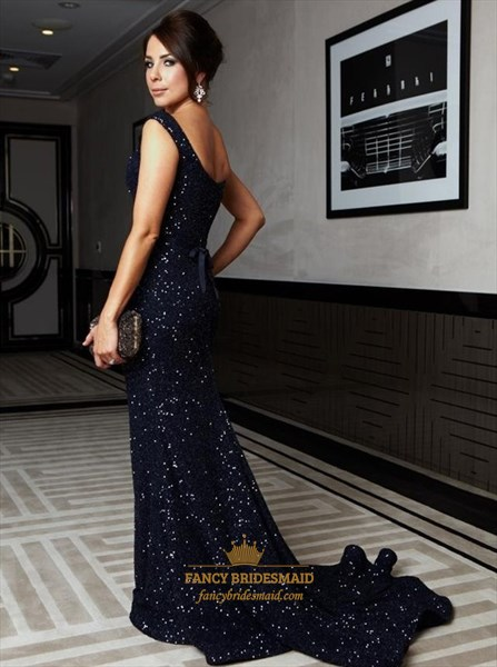 Black Cap Sleeve Sequin Full Length Mermaid Evening Dress
