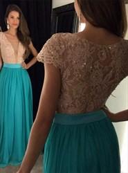 Turquoise Deep V Neck Lace Bodice Chiffon Cap Sleeve Bridesmaid Dress