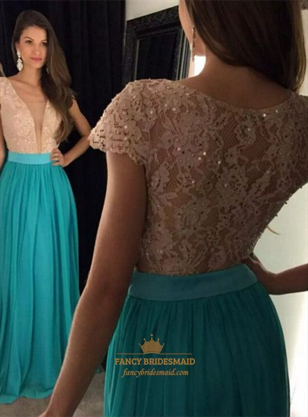 Turquoise Deep V Neck Lace Bodice Chiffon Cap Sleeve Bridesmaid Dress