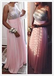 Pink A Line Beaded Bodice Chiffon Floor Length Formal Dress