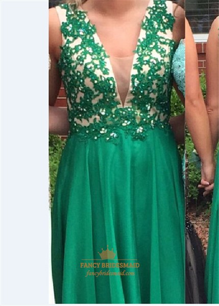 Emerald Green V-Neck Lace Embellished Backless Long Bridesmaid Dress