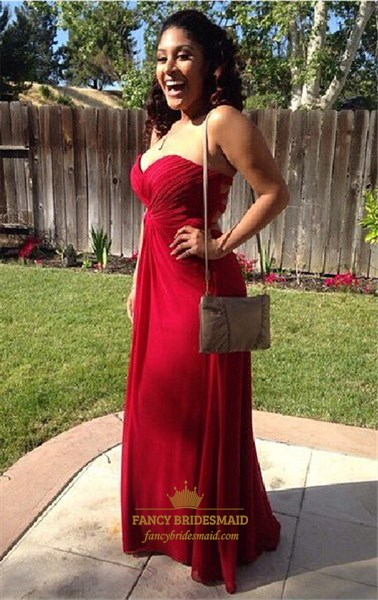 Burgundy Strapless Sweetheart Ruched Empire Waist Bridesmaid Dress