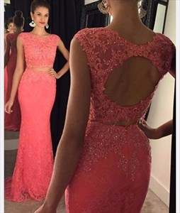 Coral Two Piece Cap Sleeve Beaded Backless Lace Mermaid Evening Gown