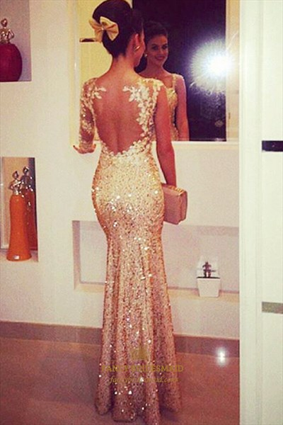 Champagne Open Back Mermaid Sweetheart Sequin Evening Prom Dress