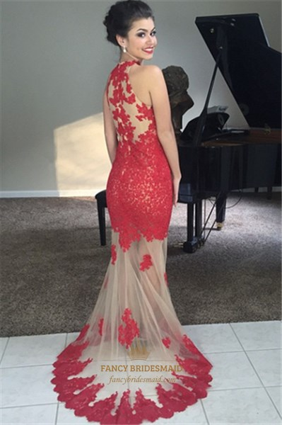 Red High Neck Sheer Lace Applique Long Mermaid Prom Dress