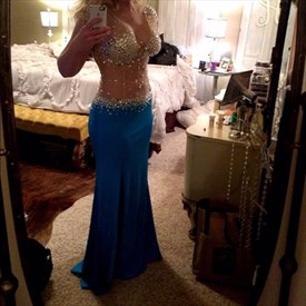 Aqua Blue Two Tone Long Prom Dress With Sheer Beaded Bodice