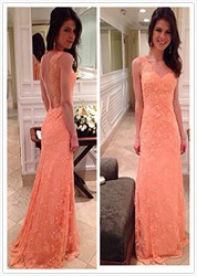 Coral Lace Embellished Open Back Floor Length Formal Dress