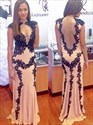 Peach Lace Applique Cap Sleeve Backless Prom Dress With Keyhole Front