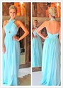 Turquoise Halter Neck Cross Ruched Open Back Long Evening Dress