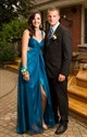 Teal V Neck Ruched Empire Waist Prom Dress With Split Front And Straps