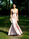 Blush Pink Sheer Illusion Neckline Mermaid Full Length Prom Gown