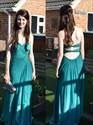 Teal Strapless Ruched Long Chiffon Prom Dress With Front Cascade