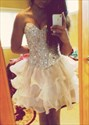 Champagne Strapless Beaded Bodice Short Party Dress