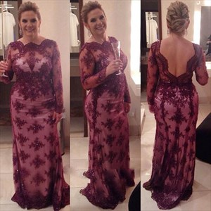 Burgundy Sheer Lace Long Sleeve Full Length Mother Of The Bride Dress