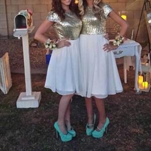 Champagne Sequin Top Chiffon Bottom Knee Length Bridesmaid Dress