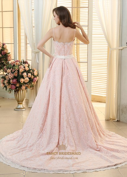 Pink V-Neck Spaghetti Strap Lace Embellished Prom Dress With Flowers