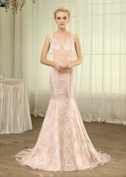 Blush Pink Sweetheart Lace Mermaid Formal Gown With Bow And Straps