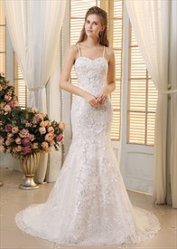 White Spaghetti Strap Sequin Lace Embellished Mermaid Wedding Dress