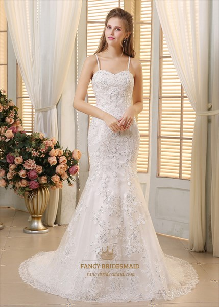 White Spaghetti Strap Sequin Lace Embellished Mermaid Wedding Dress