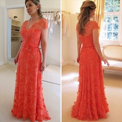 Red Lace Embellished Cap Sleeve Full Length Lace Formal Dress