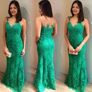 Green Sheer Lace Bodice Sleeveless Mermaid Long Bridesmaid Dress