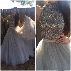 Grey High Neck Beaded Embellished Bodice Full Length Prom Dress