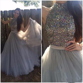Grey High Neck Beaded Embellished Bodice Full Length Prom Dress
