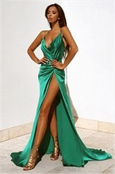 Green V Neck Spaghetti Strap Backless Side Split Formal Dress