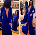 Royal Blue Deep V Neck Open Back Long Sleeve Front Split Prom Dress