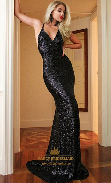 Black V Neck Spaghetti Strap Backless Sequin Mermaid Long Prom Dress