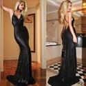 Black V Neck Spaghetti Strap Backless Sequin Mermaid Long Prom Dress
