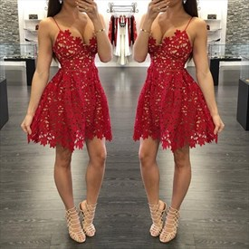 Red Lace Applique V Neck Spaghetti Strap Short Party Dress