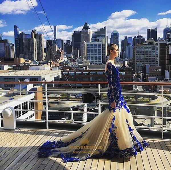 Royal Blue Sheer Lace Applique Long Sleeve Tulle Mermaid Prom Dress