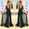 Emerald Green V-Neck Sequin Embellished Front Split Evening Dress