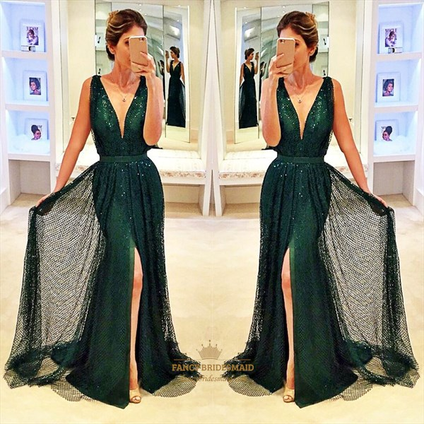 Emerald Green V-Neck Sequin Embellished Front Split Evening Dress