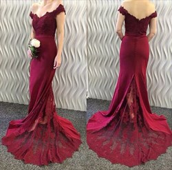 Burgundy Off The Shoulder V Neck Embellished Mermaid Formal Dress