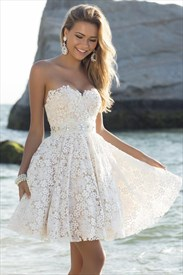 Ivory Strapless Sweetheart Lace Short Skater Bridesmaid Dress