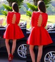 Red Lace Open Back Short Homecoming Dresses With Half Sleeves