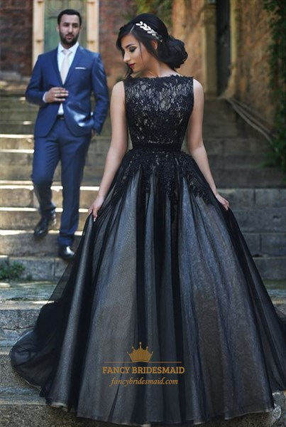 Black Princess Lace Embellished Ball Gown Puffy Formal Dress