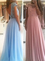 Pink Lace Beaded Bodice Cap Sleeve Backless Chiffon Long Prom Dress