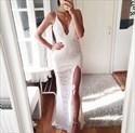 White Spaghetti Strap V Neck Long Lace Prom Dress With Side Slit