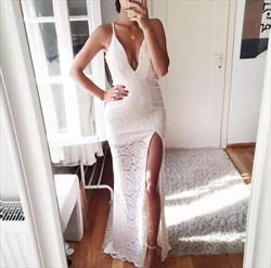 White Spaghetti Strap V Neck Long Lace Prom Dress With Side Slit