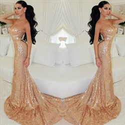 Champagne Strapless Sweetheart Sequin Mermaid Formal Dress