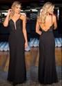Black Spaghetti Strap V Neck Embellished Backless Long Prom Dress
