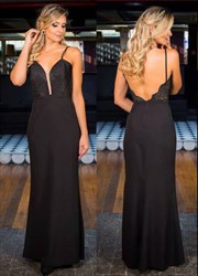 Black Spaghetti Strap V Neck Embellished Backless Long Prom Dress