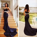 Navy Blue Strapless Sweetheart Embellished Waist Mermaid Formal Dress