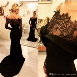 Black Off The Shoulder Sheer Embellished Long Sleeve Mermaid Dress