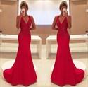 Red V Neck Embellished Sleeveless Mermaid Floor Length Formal Dress