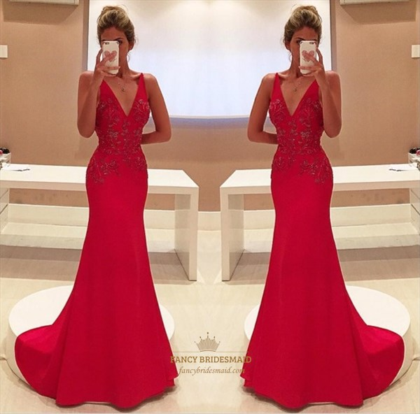 Red V Neck Embellished Sleeveless Mermaid Floor Length Formal Dress