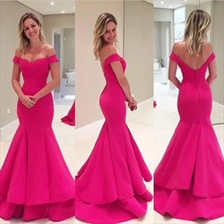Hot Pink V Neck Off The Shoulder Mermaid Long Evening Dress